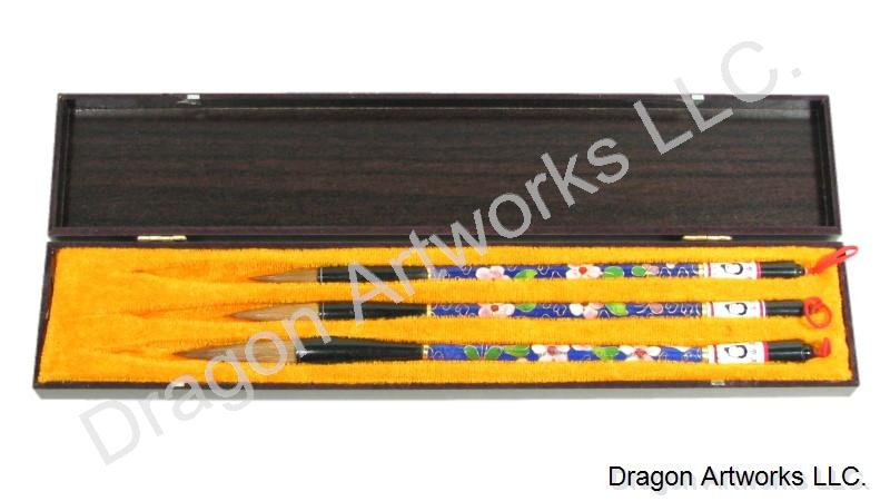Cloisonne Handle Wolf Hair Calligraphy Brush Set