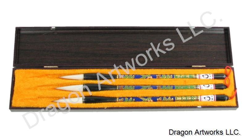 Cloisonne Handle Sheep Hair Calligraphy Brush Set
