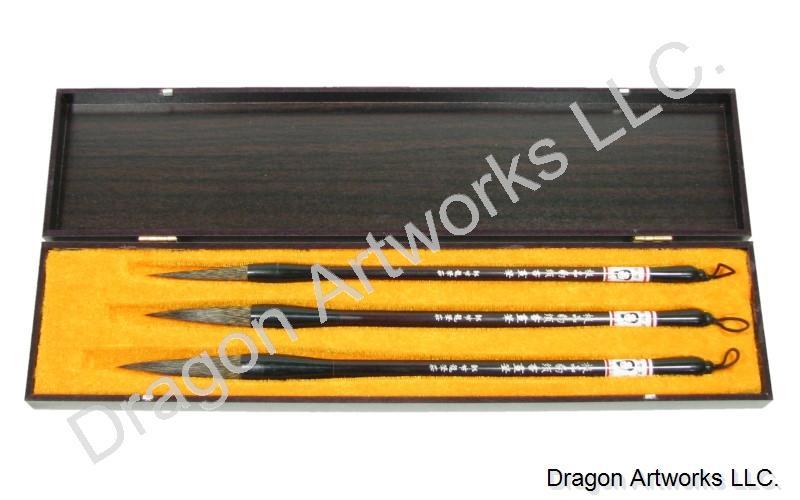 Rare Wild Hare Hair Chinese Calligraphy Brush Set