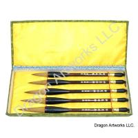 Five Wolf Hair Bristle Calligraphy Brushes